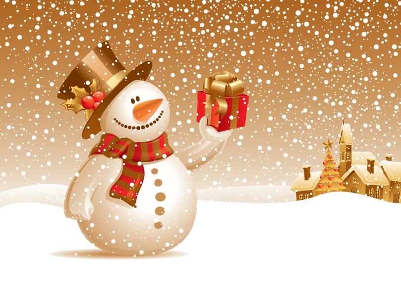 Så kom snögubben med julklappar