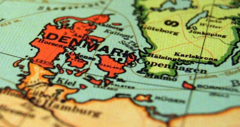 Karta över Danmark och delar av Sverige.